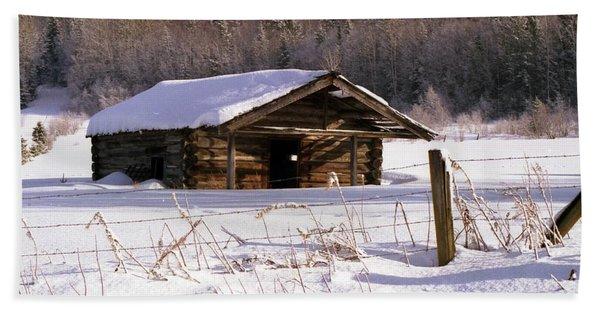 Snowy Cabin Bath Towel