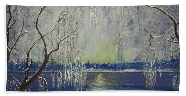 Snowy Day At The Lake Hand Towel