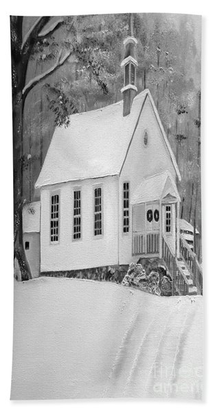 Snowy Gates Chapel -white Church - Portrait View Hand Towel