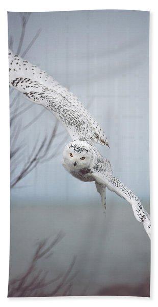 Snowy Owl In Flight Hand Towel