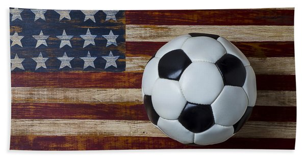 Soccer Ball And Stars And Stripes Bath Towel