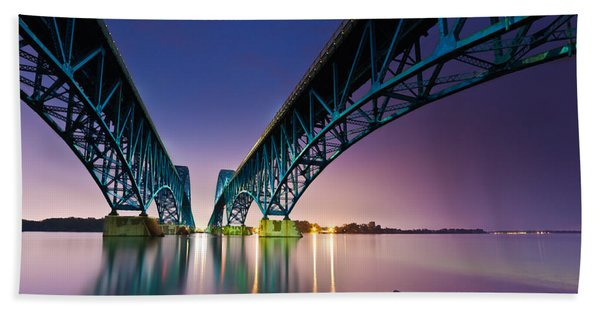 Hand Towel featuring the photograph South Grand Island Bridge by Mihai Andritoiu