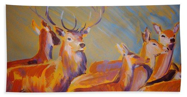 Stag And Deer Painting Bath Towel