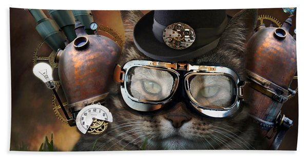 Steampunk Cat Bath Towel