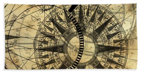 Steampunk Gold Compass Hand Towel