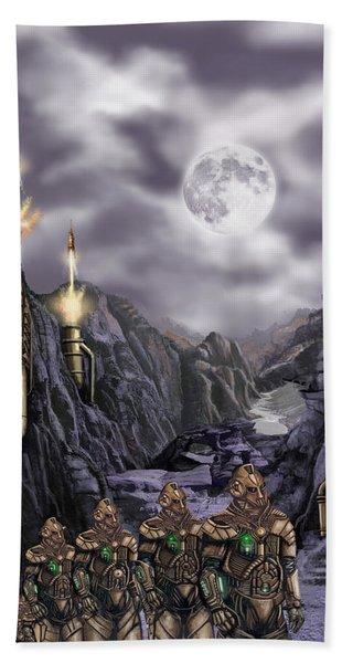 Steampunk Moon Invasion Hand Towel