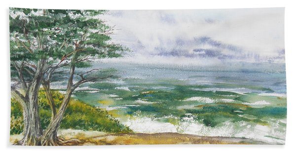 Stormy Morning At Carmel By The Sea California Bath Towel