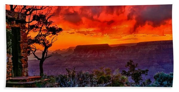 Bath Towel featuring the photograph Stormy Sunset At The Watchtower by Greg Norrell
