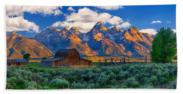 Bath Towel featuring the photograph Sunrise On The Tetons Limited Edition by Greg Norrell