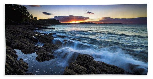 Sunset On Ber Beach Galicia Spain Bath Towel