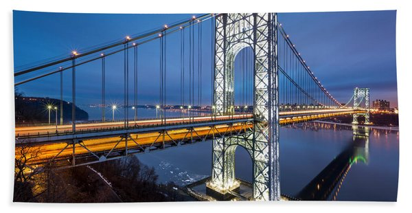 Hand Towel featuring the photograph Super Bowl Gwb by Mihai Andritoiu