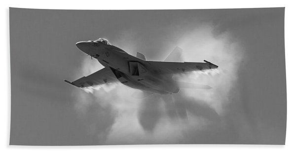 Super Hornet Shockwave Bw Bath Towel