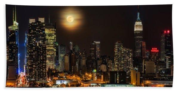 Super Moon Over Nyc Bath Towel