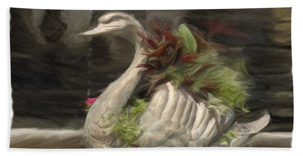 Swan With Beautiful Flowers Hand Towel
