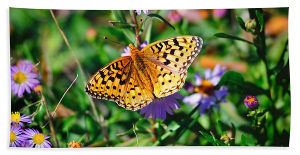 Bath Towel featuring the photograph Teton Butterfly by Greg Norrell
