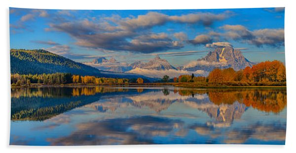 Bath Towel featuring the photograph Teton Panoramic Reflections At Oxbow Bend by Greg Norrell