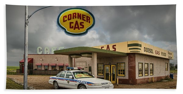 The Corner Gas Station From The Canadian Tv Sitcom Hand Towel