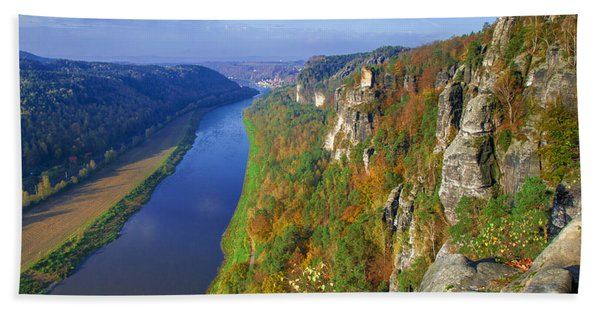 The Elbe Sandstone Mountains Along The Elbe River Hand Towel