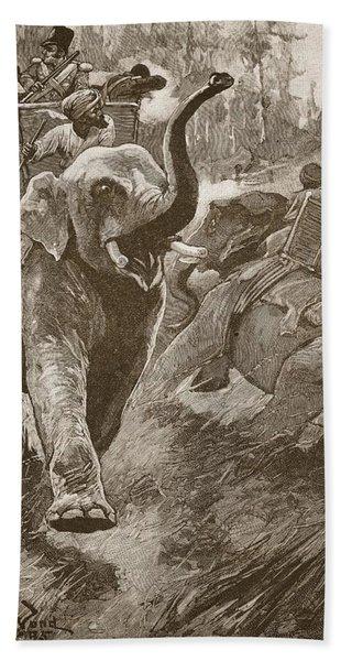 The Frightened Elephants Rushed Back Bath Towel