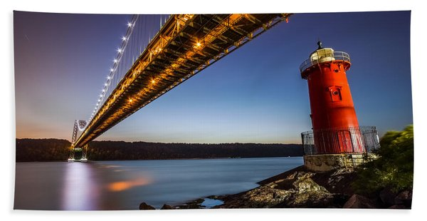Hand Towel featuring the photograph The Little Red Lighthouse by Mihai Andritoiu