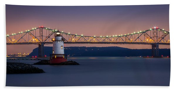 Hand Towel featuring the photograph The Little White Lighthouse by Mihai Andritoiu