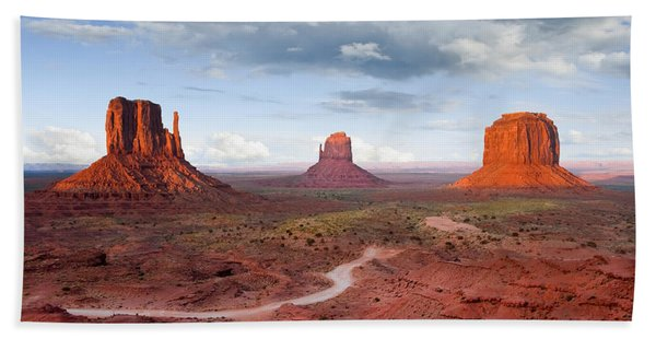 The Mittens And Merrick Butte At Sunset Bath Towel