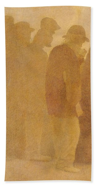 The Mouthful Of Bread, Waiting In Line, Study For Charity Hand Towel