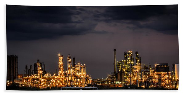 Hand Towel featuring the photograph The Refinery by Mihai Andritoiu