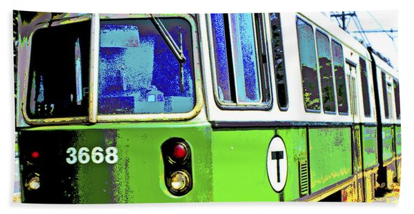 The T Trolley Car Boston Massachusetts 1990 Poster Bath Towel