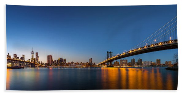 Hand Towel featuring the photograph The Two Bridges by Mihai Andritoiu