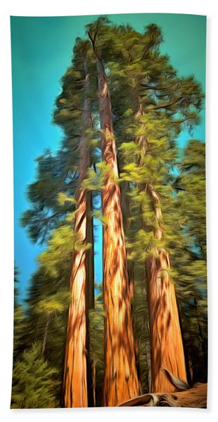Three Giant Sequoias Digital Bath Towel