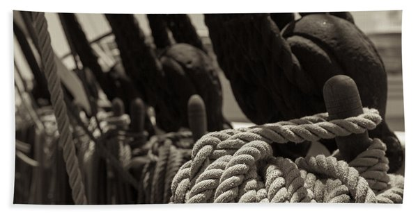 Tied Up Black And White Sepia Bath Towel