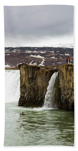 Tourist Exploring Godafoss Waterfall Hand Towel