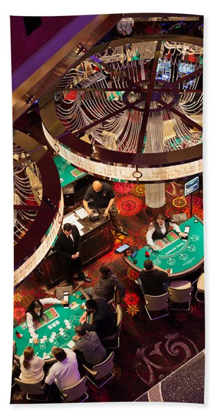 Tourists At Blackjack Tables In Casino Hand Towel