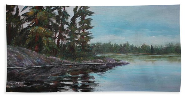 Hand Towel featuring the painting Tranquil Bay by Ruth Kamenev