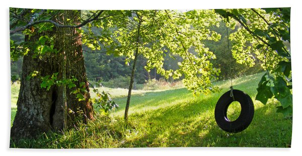 Tree And Tire Swing In Summer Hand Towel