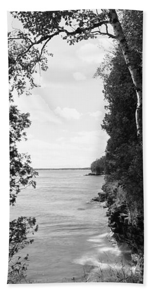 Trees At The Lakeside, Cave Point Hand Towel
