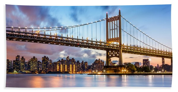 Hand Towel featuring the photograph Triboro Bridge At Dusk by Mihai Andritoiu