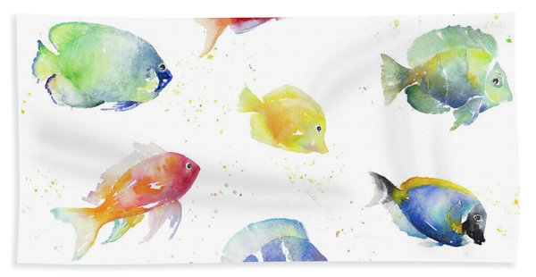 Tropical Fish Round Hand Towel