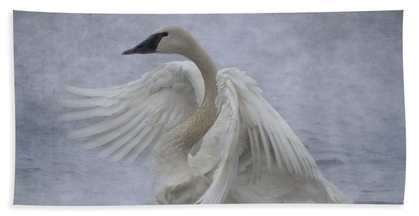 Bath Towel featuring the photograph Trumpeter Swan - Misty Display by Patti Deters