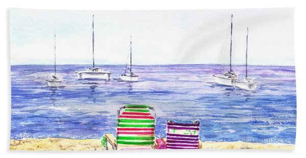 Two Chairs On The Beach Bath Towel