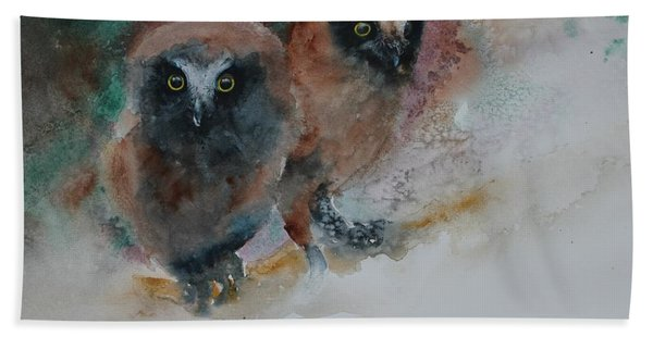 Hand Towel featuring the painting Two Hoots by Ruth Kamenev