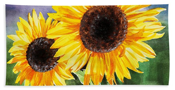 Two Sunflowers Hand Towel