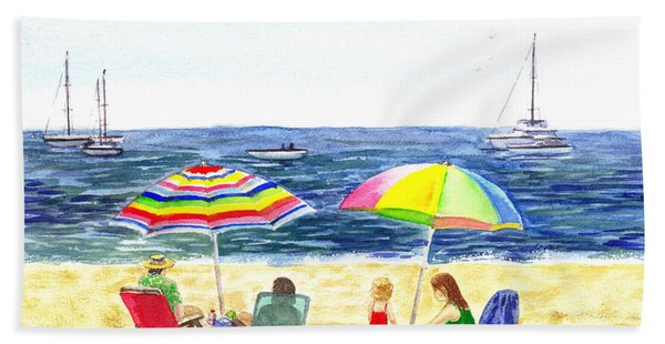 Two Umbrellas On The Beach California  Hand Towel
