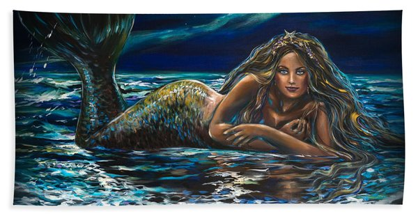 Under A Crescent Moon Mermaid Pillow Hand Towel