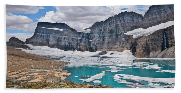 Upper Grinnell Lake And Glacier Hand Towel
