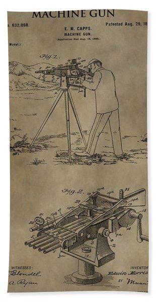 Vintage Machine Gun Patent Bath Towel