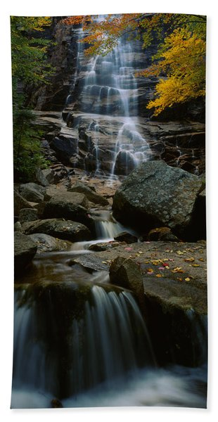 Waterfall In A Forest, Arethusa Falls Hand Towel