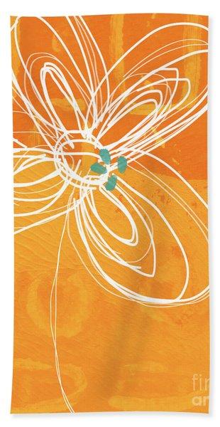 White Flower On Orange Bath Towel