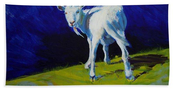 White Goat Painting Bath Towel